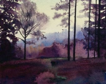 Landscape painting, landscape watercolor, English woodland, English landscape, English countryside, watercolor trees, painting, forest