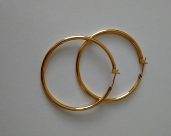 Monet Hoop Earrings, Golden Tone Monet Earrings, Vintage Monet Hoop Earrings