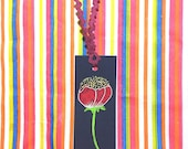 Bookmark - Red Flower with Gold