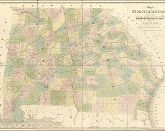 Poster, Many Sizes Available; Map Of Georgia & Alabama 1839
