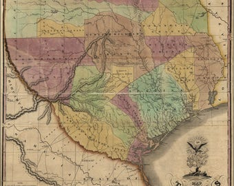 Poster, Many Sizes Available; Map Of Texas Compiled By Stephen F. Austin 1837