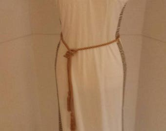 Vintage Alfred Shaheen White Maxi Dress with Greek Key Detail