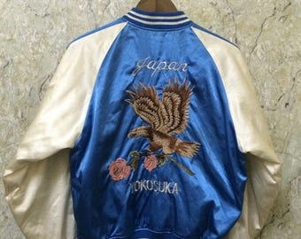 Birthday Sale Vintage Embroidered Japanese Souvenirs Sukajan Varsity Jackets, Hawk & Flower, Yakuza, Hip Hop, Size M Rare
