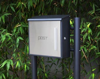 Stainless Steel MPB918NH-1 Mailbox and MPB502B Post Modern Urban Style