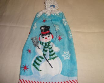 Snowman With Snowflakes Kitchen Towel With Crochet Top