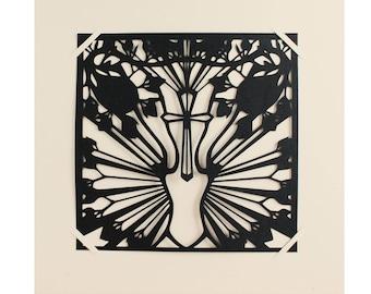Metoo_Découpage noir en papier noir _ Vaginas Florales_ Claire Colin