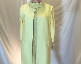 Vintage 50s 60s Handmade Canary Yellow 2 Piece Dress Jacket Outfit Set Silk Embroidery - Original Tags