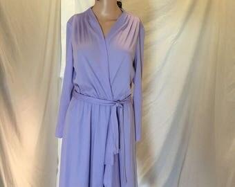 Vintage 70s Dress by Laura Gene Fashions Purple Lilac V Neck Long Sleeves ILWGU Union Tag