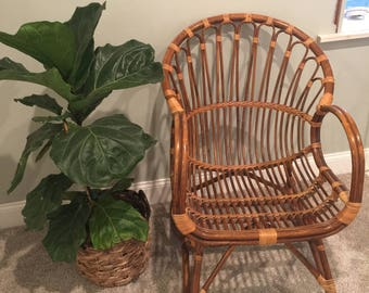 Vintage Mid Century Modern Franco Albini Bentwood Rattan Scoop Chair - Excellent Condition - Boho chic