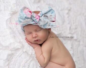 SKY FLORAL Gorgeous Wrap- headwrap; fabric head wrap; floral head wrap; newborn headband; baby headband; toddler headband; baby bow