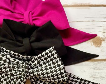 Gorgeous Wrap Trio (3 Gorgeous Wraps)- Boysenberry, Noir & Noir Houndstooth Gorgeous Wraps; headwraps; fabric head wraps; bows