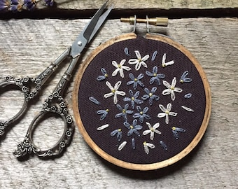 Small 3 Inch Grey Flower Embroidery