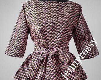 African clothing Top, African print peplum top, Ankara peplum top women clothing