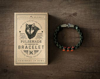 Men's bracelet-military green woman///Orange Unisex-Handmade Pulsemade paracord Mens bracelet-Womens Olive Drab///Orange
