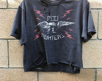 Foo Fighters Shirt - medium crop top - rock - rocker - metal- rock n roll - band shirt - concert shirt - distressed - grunge - reworked