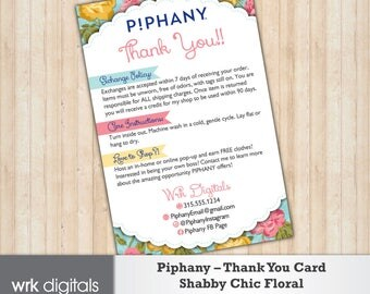 Piphany Care Card, Thank You Card, Shabby Chic Floral Design, Customized Design, Direct Sales, Fashion Stylist, Return Policy