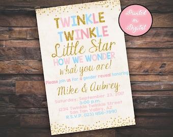 Twinkle Twinkle Little Star Invitation,  Gender Reveal Invitation, Twinkle Twinkle Little Star Gender Reveal, DIGITAL