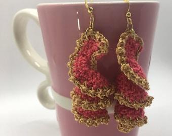 Crochet Spiral Earrings, Crochet Earrings, Valentine's Day Gift, Shell Earrings, Swirl Earrings