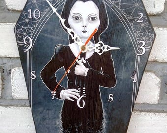 Wooden wall coffin-clock - Wednesday - Addams family movie series. Handmade wall clock. Coffin shaped. Gothic decoration. Horror film clock