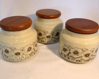 Hornsea Cornrose set of 3 small storage jars – original from the 1980s