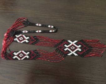 Black Red White Ukrainian Gerdan, Long Seed Bead Necklace, Handmade Beaded Necklace, Folk Necklace, Statement Necklace, Long Necklace,