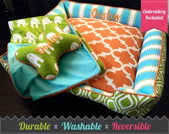 Classy  Dog Bed  | Choose your own fabrics | Free Embroidery | Dog Bed Small | Dog Bed Large | Pet Bedding | Polka Dot Dog Bed