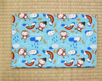 cotton japanese animal monkey  fabric 1/2 yard gray