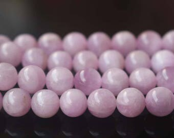 Natural AA Kunzite Smooth and Round Beads, Spodumene Beads,6mm 8 mm 10mm 12mm Kunzite Beads,15 inches per strand