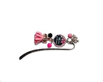 """Special """"Grandma tearing"""" bookmark pink & dark grey"""