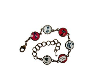 "Bracelet bronze ""Black cats"" on red with white polka dots and black cats on checked background"