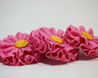 3 Pieces of Handmade Pink Flower Hair Clips Made from Reused, Recycled Fabric