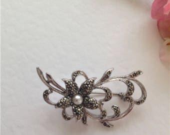 Vintage Marcasite Brooch, Flower Brooch, Faux Pearl Brooch, Vintage Wedding, Bridal, Mother of the Bride