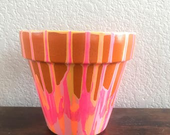 Hand painted flower pot. Indoor/outdoor.