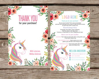 Thank You Card, Personalization, Return/Exchange Policy, Fashion Retailer, Return/Care/Policy, Unicorn and Flowers, Digital File LLR030