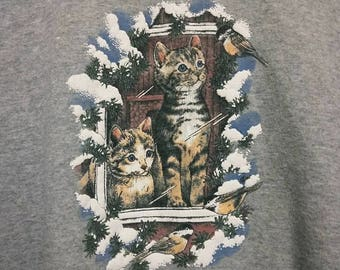 Vintage Cat Sweater Crew Neck Sweatshirt Kittens - Color Grey - Size Small / Medium