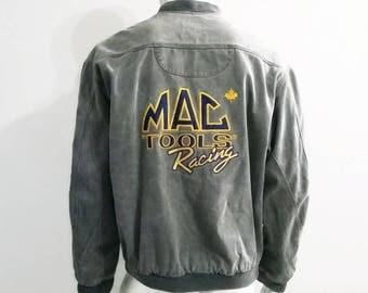 Vintage MAC Tools Racing Denim Jacket - Grey Jean Jacket - Size Large