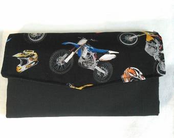 Handmade Motorcycle Fabric Tri Fold Wallet