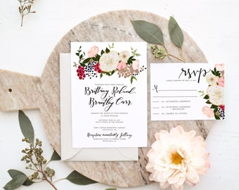 Cream, Pink Rose & Berry Cluster Wedding Invitation