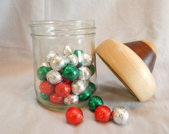 Easter gift, for women A glass utility or candy jar with hand turned wooden lid made of poplar and Peruvian walnut woods