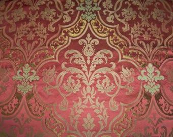LEE JOFA KRAVET Anne Boleyn Renaissance Silk Damask Fabric 2.5 Yards Rose Gold Copper Cream