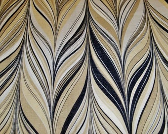SCHUMACHER RETRO MARBELIZED Stripes Linen Fabric 10 yards Greige
