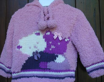 Hand knitted baby sweater hooded girl entwined Teddy from 6 months to 4t