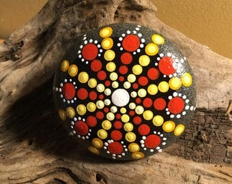 Mandala Hand Painted Rock HG901