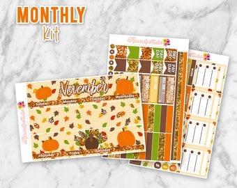 November Thanksgiving Monthly Overview Planner Sticker kit for Erin Condren Life Planners