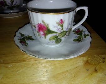 Vintage Tea Cup and Saucer with Pink Flowers