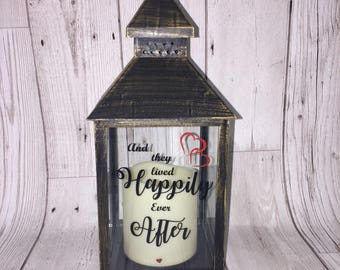 Wedding gift lantern and they lived happy ever after