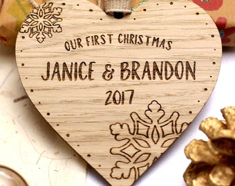 Our First 1st Christmas Decoration, Personalised Couples First Christmas Ornament, Wooden Christmas Bauble, Married Christmas Ornament Gift