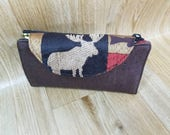 Moose Wallet,Magnetic Snap flap closure,Cork leather fabric,Country fabric  Zipper, Lined, Vermont Made,Woodland,Rustic. Slim line Wallet,