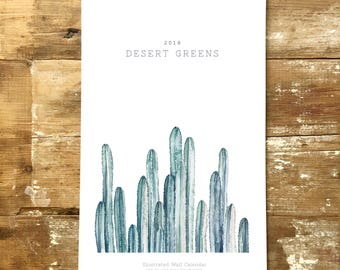 Desert Greens: 2018 Large Wall Calendar - Spiral Bound Calendar - Hanging Wall Calendar -Watercolor Calendar - Cactus  - Christmas gift