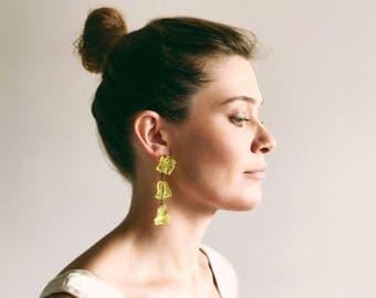 Vintage Yellow Dangle Earrings / Abstract Earrings / Huge Drop Earrings / Yellow Earrings / Plastic Earrings / 90's Earrings
